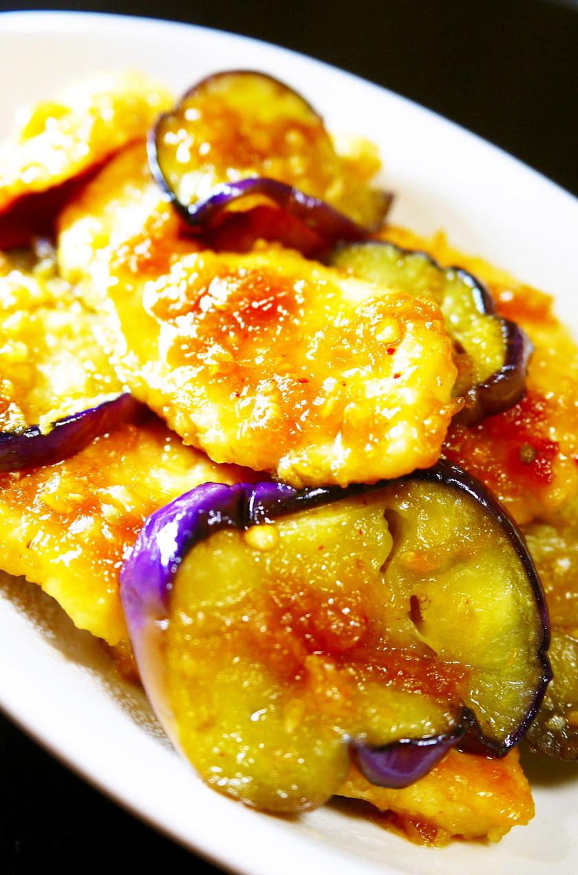 柔らか鶏むね肉となすの特製だれ★生姜焼き