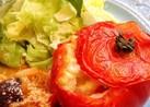 豚こま肉で♪丸ごとトマトのオーブン焼き