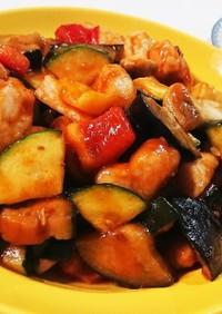 ササミと夏野菜のゴロゴロ炒め