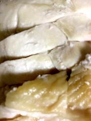 電子レンジで簡単蒸し鶏カオマンガイ風の写真