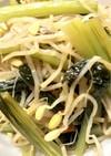 ピリ辛!大豆もやしと小松菜の炒めもの