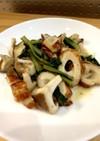 小松菜とちくわと椎茸のポンマヨ炒め