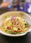 10品目の緑黄色野菜サラダ入りパスタ