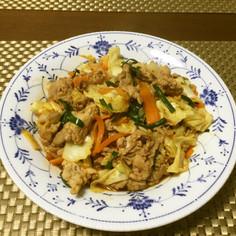 豚肉とニラとキャベツの中華炒め