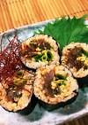 カツオのお刺身で美味しいおつまみ海苔巻き