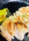 葱の青い部分×鶏胸肉のガーリックステーキ