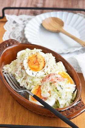 キャベツとカニかまのさっぱり卵サラダ