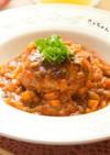 完熟トマトと夏野菜の⁂煮込みハンバーグ