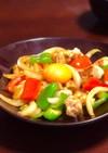 鶏もも肉と色野菜のカレー炒め