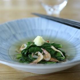 大和真菜の煮浸し桜えび餡 法蓮草小松菜も