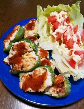 白菜の漬物と鶏のささみ肉詰めピーマン⁉️