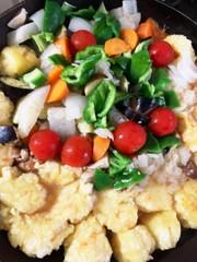 じゃがいも豆腐肉団子野菜の塩だれ炒めの写真
