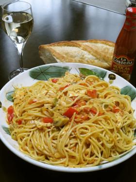 水煮トマトで赤パプささみのトマクリパスタ