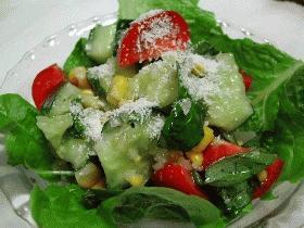 庭のバジルでマリネ風サラダ