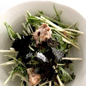 水菜とサバ缶のサラダ