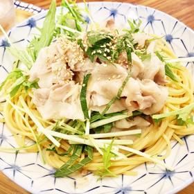五右衛門風 豚しゃぶと水菜の和風パスタ☆