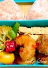 豆腐ハンバーグエビ天ぷら卵焼き弁当