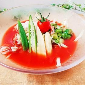 レタスヌードル冷静とまとスープ