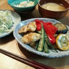 鶏胸肉と夏野菜のカレー炒め