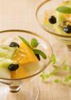 しぼり豆とフルーツのキラキラゼリー添え