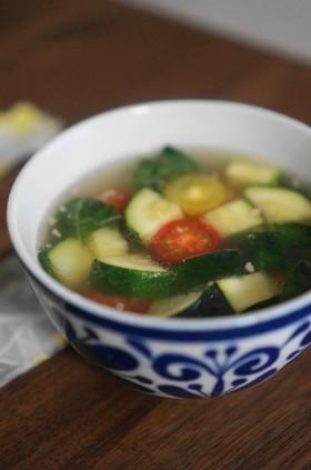 ズッキーニと挽肉、トマトのアジア風スープ
