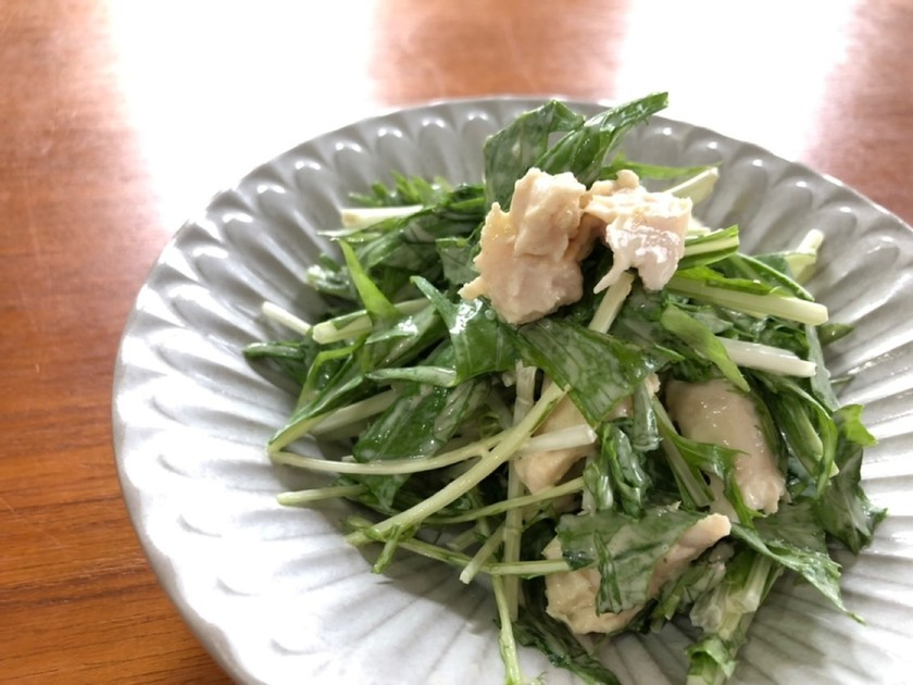 サラダチキンと水菜の柚子胡椒ポン酢サラダ