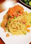 サーモンと湯むきトマトの美肌冷製パスタ