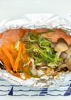 オリーブペーストの鮭ホイル焼き
