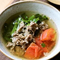 トマトとクレソン☆肉吸い仕立てのスープ