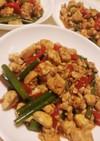 豆腐と鶏胸肉と卵のオイスターソース炒め