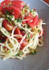 ズッキーニとトマトの青じそ冷製パスタ