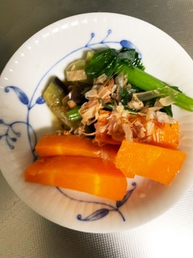 なすと人参と冷凍小松菜レンジでナムル