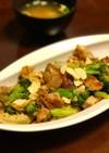鶏もも肉とブロッコリー舞茸ガーリック炒め