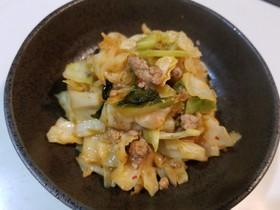 キャベツとひき肉のキムチ炒め