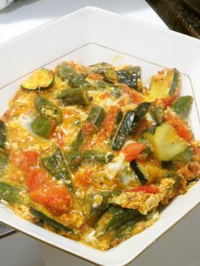 ズッキーニとオクラとトマトの洋風卵とじ