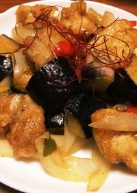 ナスと鶏肉の甘酢炒め