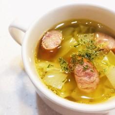 ソーセージとキャベツのカレースープ