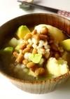 もち麦と納豆の食べる味噌汁