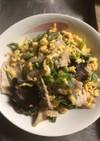 キクラゲと豚肉の卵とじ