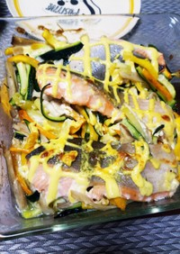 鮭と千切りズッキーニのマヨネーズ焼き☆