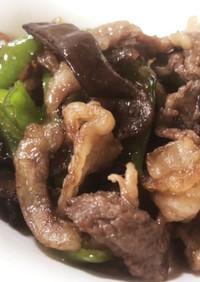牛肉とキクラゲ、ピーマンの甘辛炒め煮