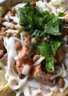 納豆と鮭のサラダうどん