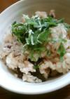 歌舞伎揚げと小豆の炊き込みご飯・しそ風味