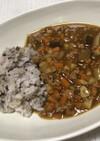 根菜と茄子、ひき肉のカレーと雑穀米
