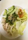 サラダチキンとサッポロ一番冷し塩とんこつ