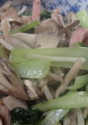 小松菜とマイタケのごま油炒め