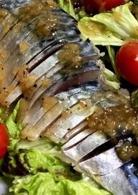 鯖の生ハムサニーレタスミニトマトのサラダ