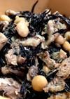 ひじき大豆高野豆腐サバ缶きざみあげの煮物