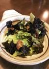 レタスとカリカリ豚バラの韓国海苔サラダ
