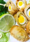 ピリ辛が旨❗️卵の青じそ豚ロース巻フライ